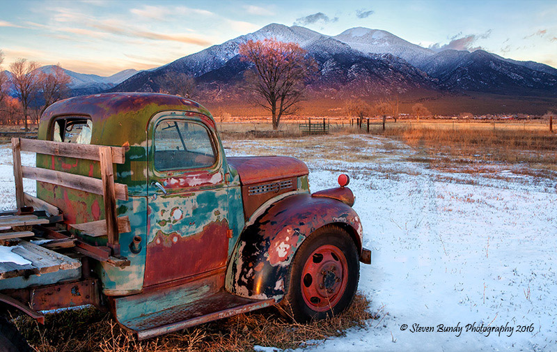 old truck and taos mountain
