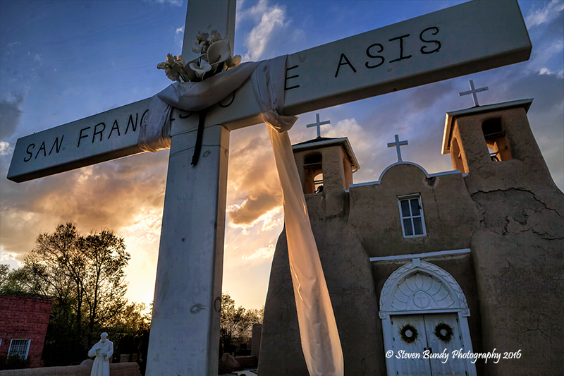 ranchos church sunset glow