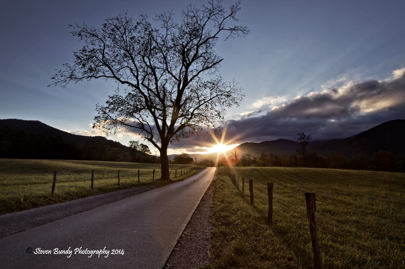 sunset at cades cove