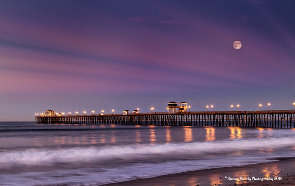 Moonset over the Pier, CA, 2012