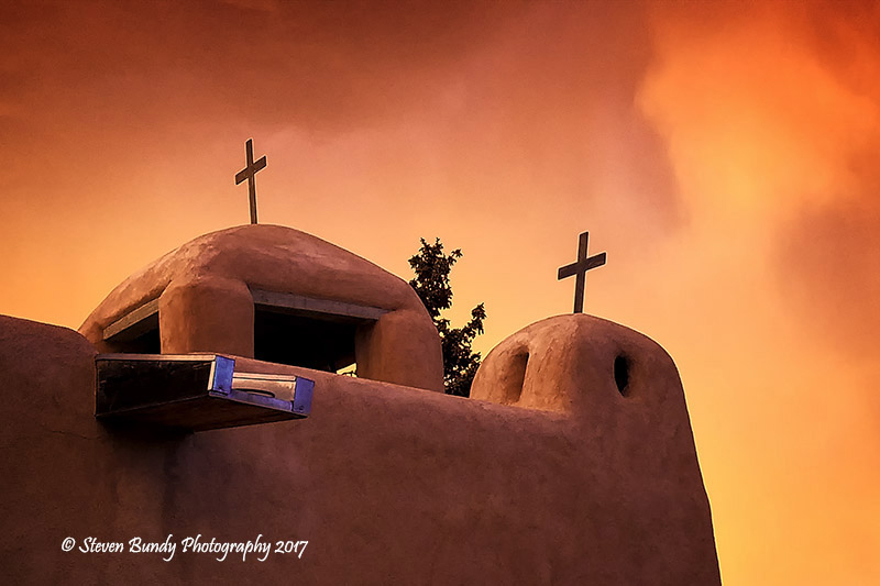 Talpa Church Fire Sky – Talpa, New Mexico – 2017